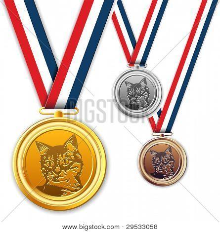Cat medals, award, medallion