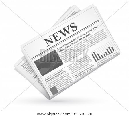 Vector newspaper icon, business news. Good looking in small size.