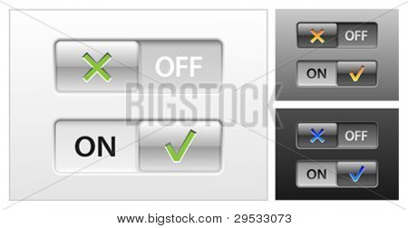 web buttons switch on off, power sliders or switchers.