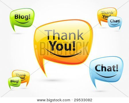 Thank you, chat, blog - glossy speech bubbles. Set of orange, green, blue balloon.