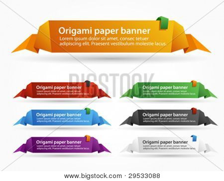 Trendy banner or paper origami labels. Vector message box.