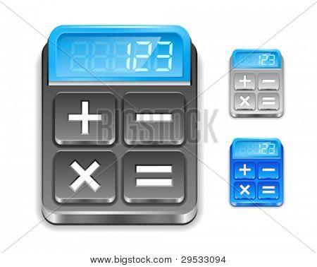 Icono de la calculadora. Color negro, azul y plateado.