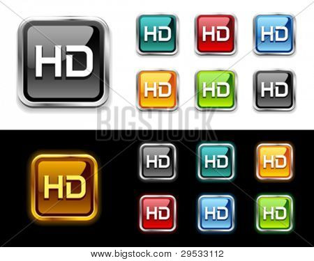 HD tv buttons and icon.