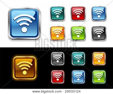 WiFi glossy vector icon and button.