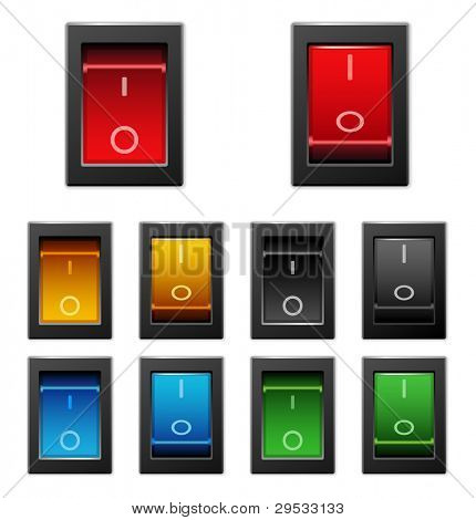 Realistic power switch on off toggle power switches