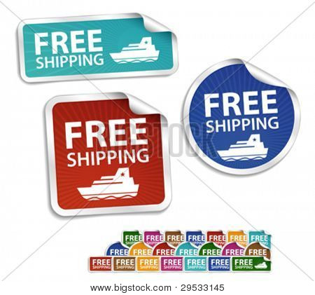 Free shipping stickers, labels, icon, button, message, banner, sign