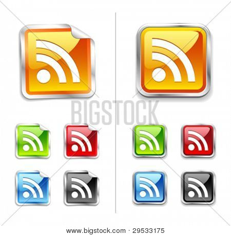 Bright shiny metallic sticker rss icon and button