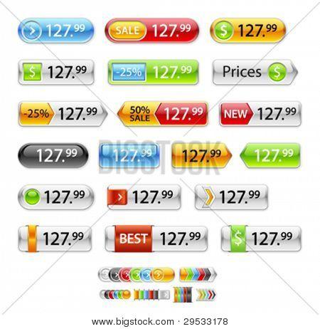 Nuevo signo de la etiqueta de precio, botón, etiqueta, insignia, brillante y rectangular