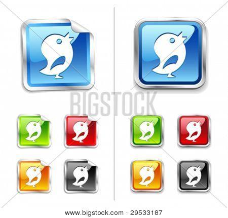 Bright shiny metallic sticker blue birds icon and button.