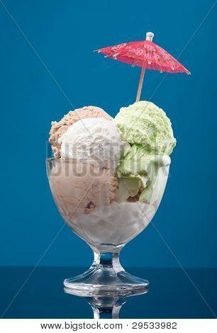 Ice Cream In A Glass Vase. Closeup
