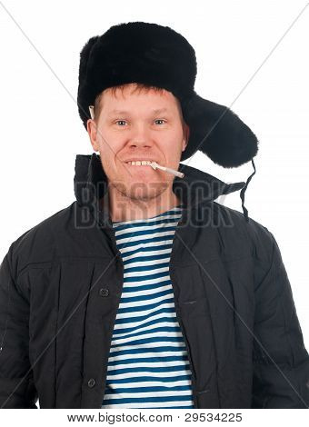 Russian Man In Winter Fur Cap