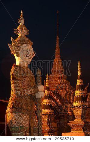 Night Scene Of Statue Giant Story Ramayana At Wat Phra Kaew In Bangkok, Thailand .