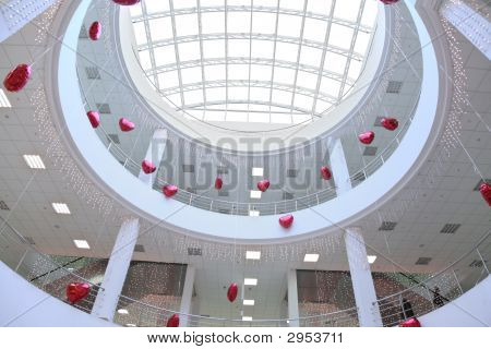 Interior Of Commercial Center Decorated With Infatable Hearts