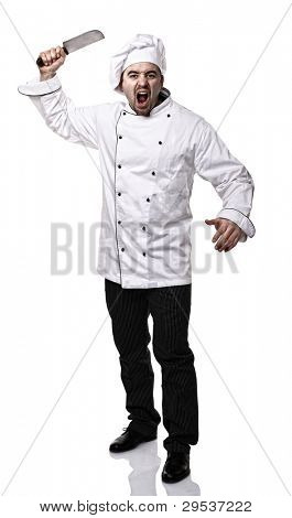 portrait of angry chef with big knife