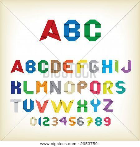 Colorful origami alphabet