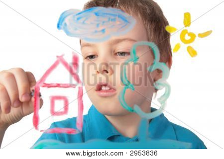 Boy Paints House On Glass