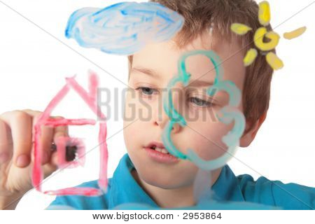 Child Paints On Glass