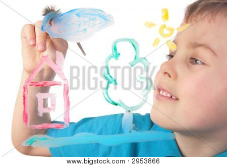Boy Paints On Glass Cloud And House