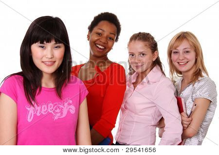 Small group - four girls of different nationalities