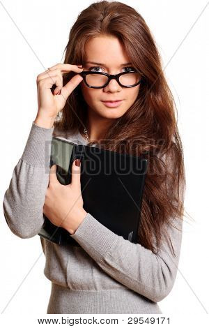 business woman with daily log over a white background