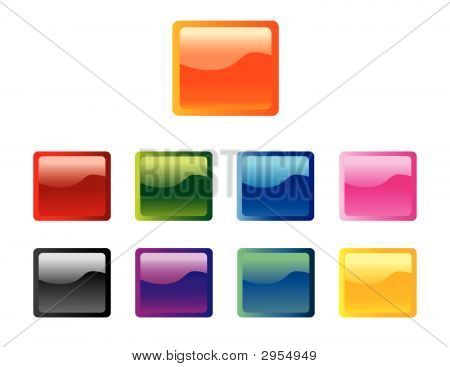 Set Of Square Glossy Buttons Vector