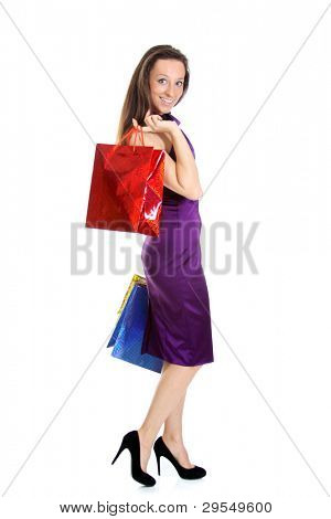 Full length Portrait of a beautiful young lady out shopping with copyspace