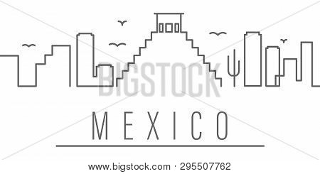 Mexico City Outline Icon Elements