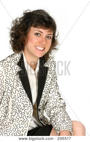 Woman In Black And White Suit