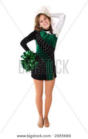 Muchacha en un uniforme de Pom Pon