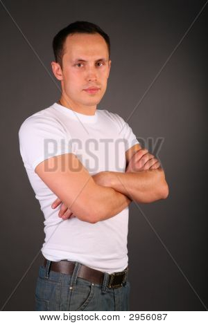 Portrait Of Young Man In White T-Shirt