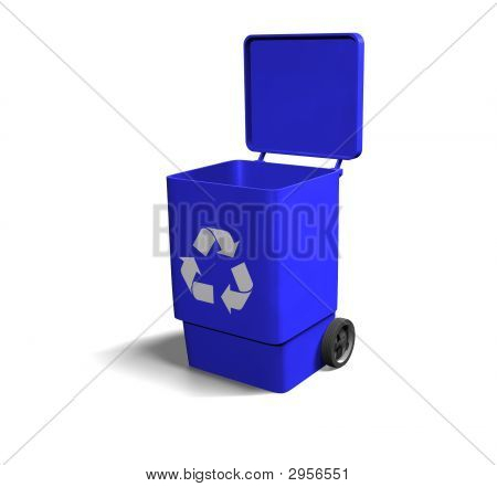 Blue Recycle Bin Open