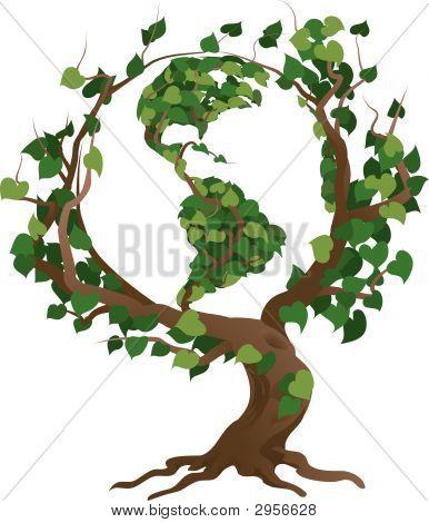 Mundo verde árbol Vector Illustration