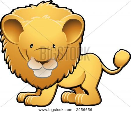 Cute Lion Vector Illustration