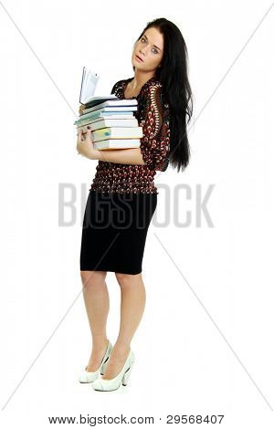 Isolated full-body portrait of a beautiful young business woman.