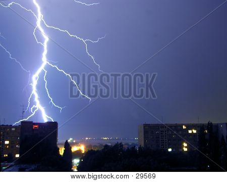 A Lightning Bolt Strike In The City