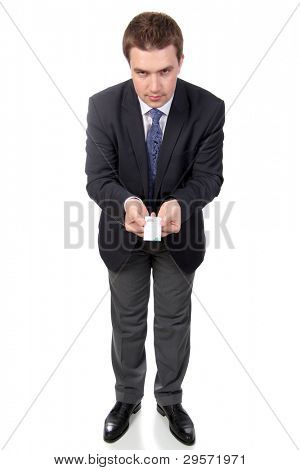 business man wearing dark suit, isolated over white background