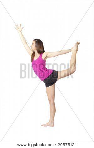 woman doing yoga, clipping path included