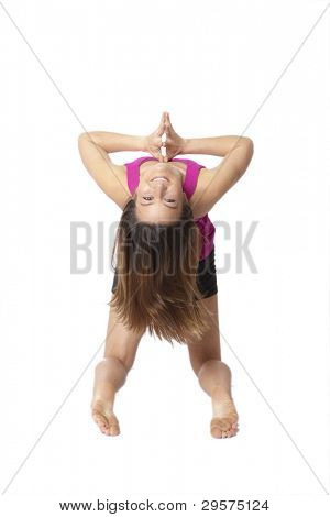 woman doing yoga, backbend with clipping path