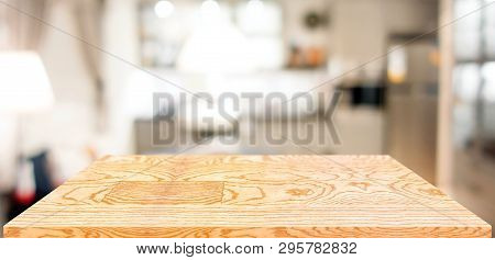 poster of Perspective Wood Table Counter In Kitchen.empty Wooden Tabletop With Blurred Home Kitchen Background