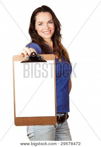 Beautiful Woman Holding Out Blank Clipboard