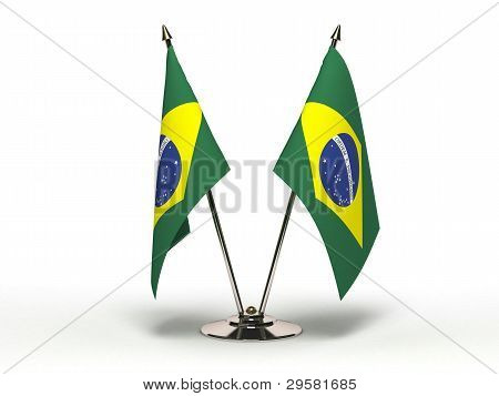 Miniature Flag Of Brazil (isolated)