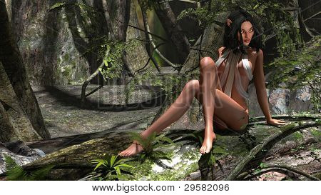alien elf girl in jungle