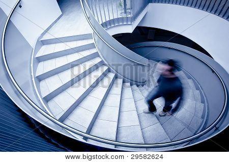 walking up steps