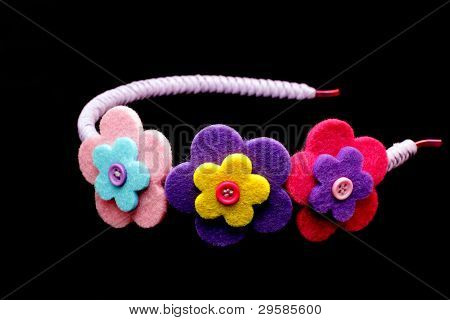 Blue Hair Band With Three Flowers