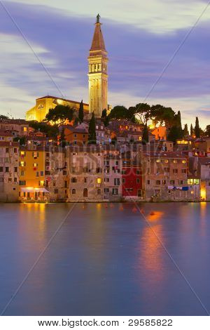 Cathedral Of St. Euphemia In The Old Town Rovinj At Night (croatia, Europe)