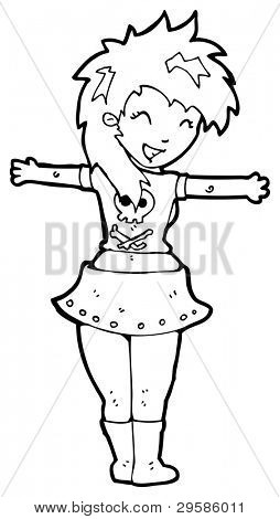 rocker girl cartoon (raster version)
