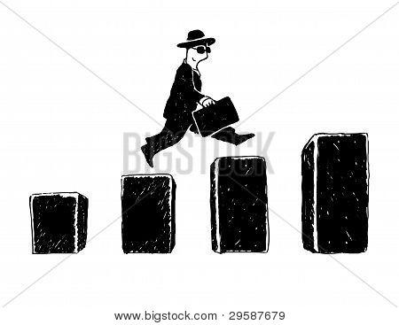 Jumping businessman