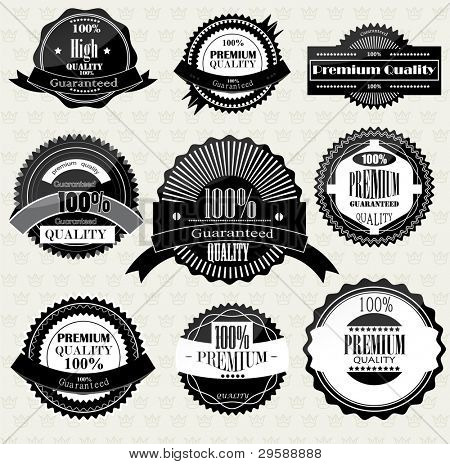 Set of Superior Quality and Satisfaction Guarantee Badges, Labels, Tags. Retro vintage style