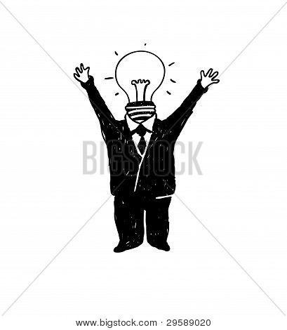 Lamp head businessman