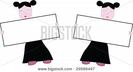 Two Girls Are Held By Tablets